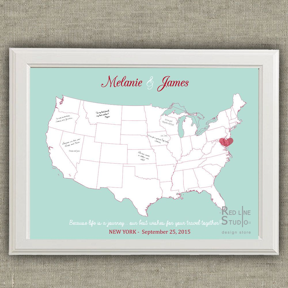 Usa map wedding guest book alternative printable guest book poster usa map wedding guest book alternative printable guest book poster digital file by redlinecs gumiabroncs Image collections