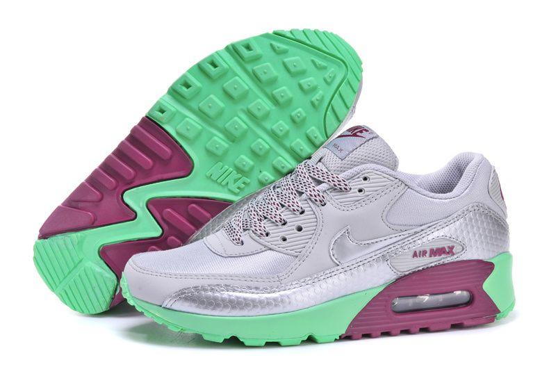 nike womens ladies air max 90 grey pink purple and green