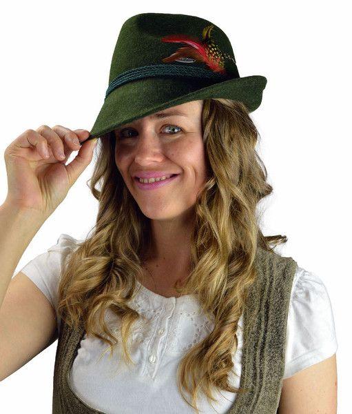 German Alpine Style Green 100 Wool Hat Wool Hat Womens Fedora Green Wool
