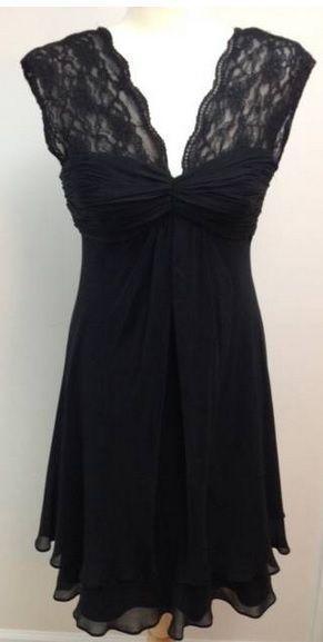 Donna Ricco LITTLE BLACK DRESS size 8 lace chiffon sleeveless sexy 100% silk #DonnaRicco #Sexy #LittleBlackDress