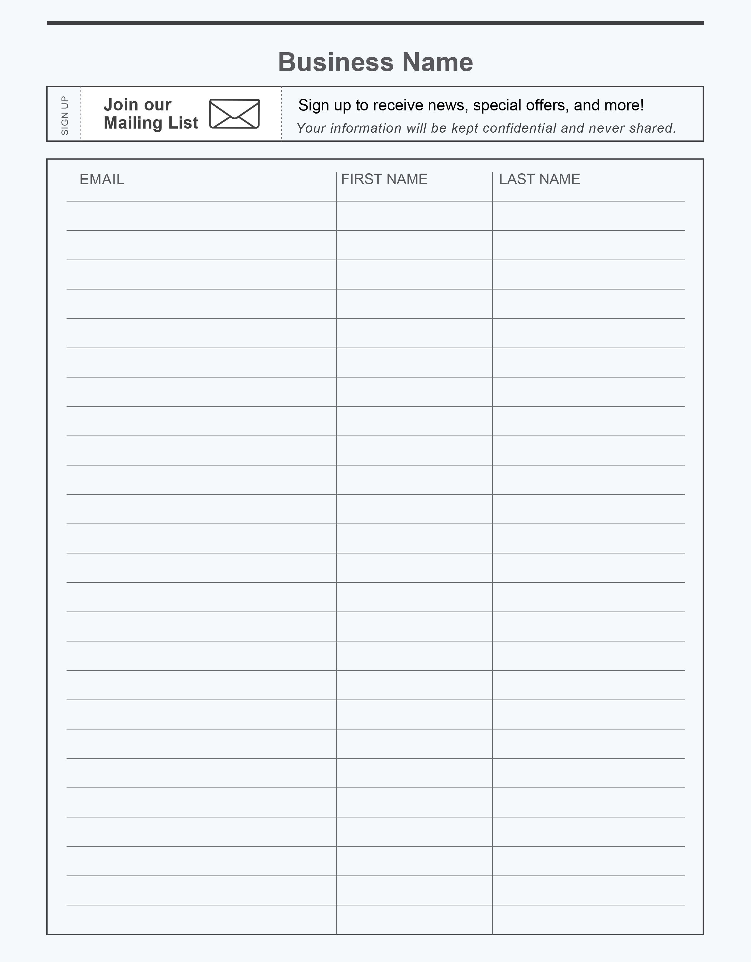 Free printable email signup sheet to help you grow your email list ...