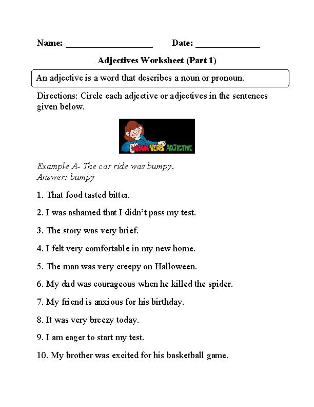 Circling Adjectives Worksheet Part 1 | Adjective worksheet ...