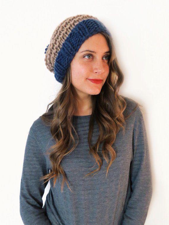 PATTERN for Chunky Soft Knit Slouchy Hat Slouch Beanie Pompom Ski Cap     Sandman Slouch Hat PATTERN d4546c11228b