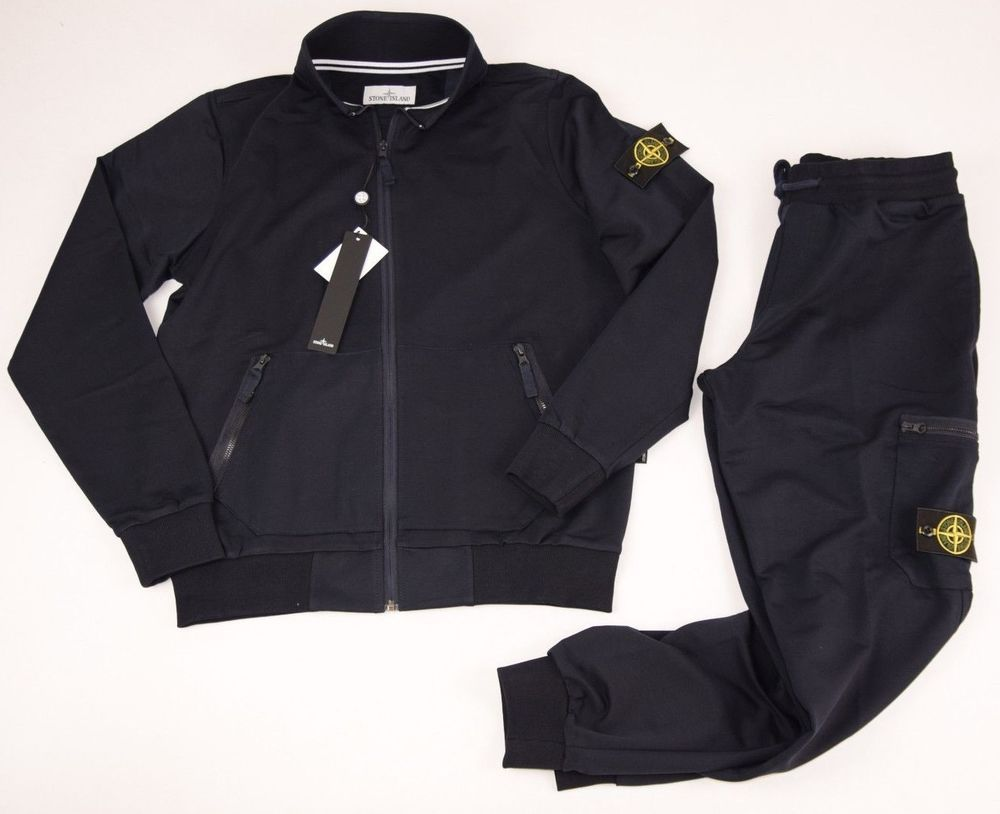 Stone Island Tracksuit Jacket Top Zip Bottoms Pants New Mens Navy Size L Sweats Fashion Clothing Shoes Accessories Mensc Jacket Tops Zip Jackets Tracksuit