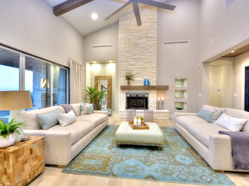 Fireplace vaulted ceiling family room contemporary with wood ...