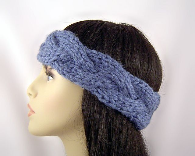 Braid Cable Ear Warmer E1003 pattern by Barbara Travis