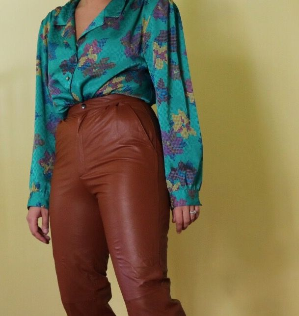 349adcdfd060a6 Camel colored leather pants. 70s pants. Stylish vintage outfit. Funky 70s  outfit. Modern vintage. Vintage inspired. Vintage floral button up.