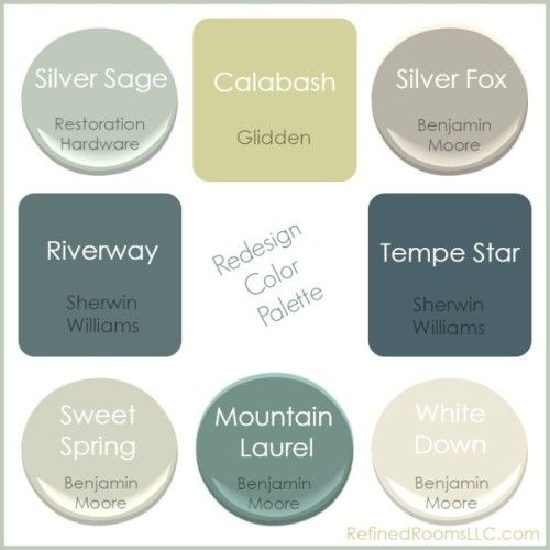 Blogger is switching her home's color palette from red and yellow to the colors seen above. Sweet Spring is the new main neutral. Silver Sage and Silver Fox are in the master bedroom and bath.  Powder room is Tempe Star. Riverway in the dining room. Mountain Laurel for the laundry room and office. All trim is White Down.