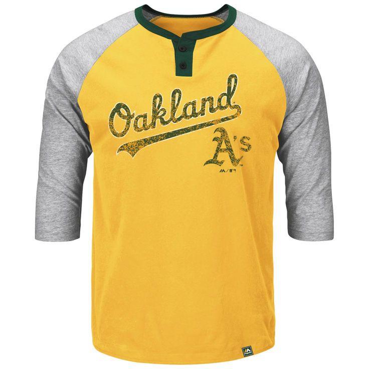 Oakland Athletics Majestic Big & Tall Force Play Henley Raglan 3/4-Sleeve T-Shirt - Gold - $47.99