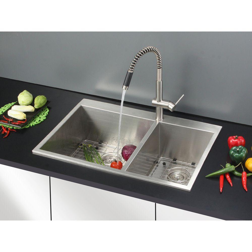 ruvati 16 gauge stainless steel 33 inch double bowl overmount rh pinterest com