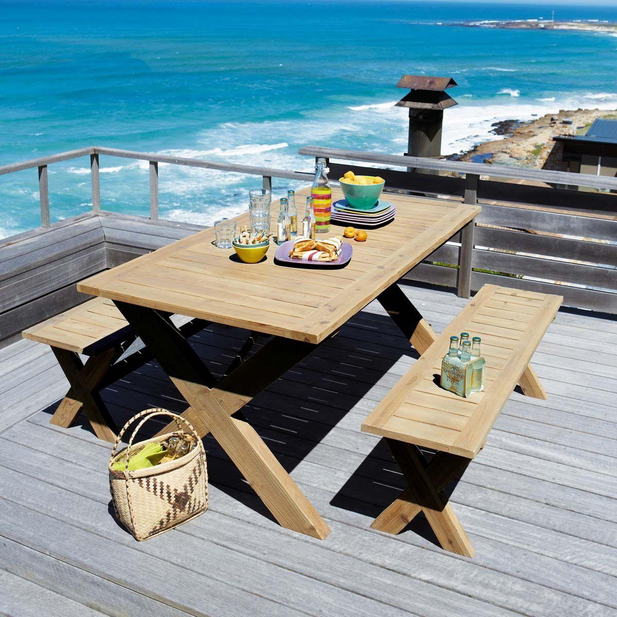 Tavolo da giardino con 2 panche in abete 150 cm my for Panche in legno da giardino