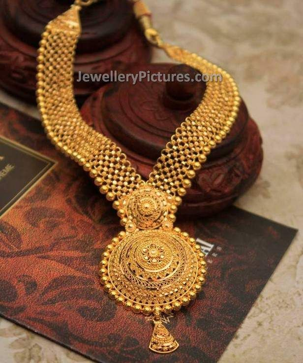 Fabulous And Mind Blowing Gold Haram Designs With Weight This Is A Latest 22 Carat Jewellery With Gold Haram Designs Gold Jewelry Fashion Gold Necklace Designs
