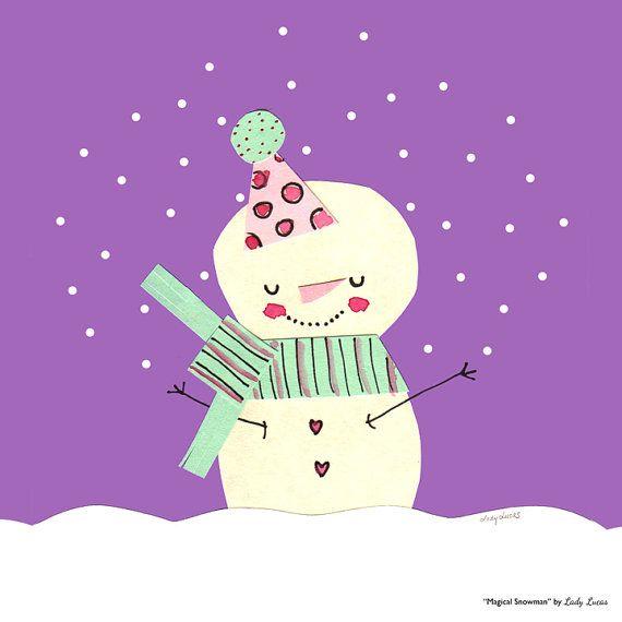 Snowman Wall Art Prints 25 Adorable Snowmen by LadyLucasStore