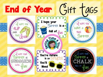 End Of Year Summer Gift Tags Updated Summer Gift Bubble Gift End Of Year