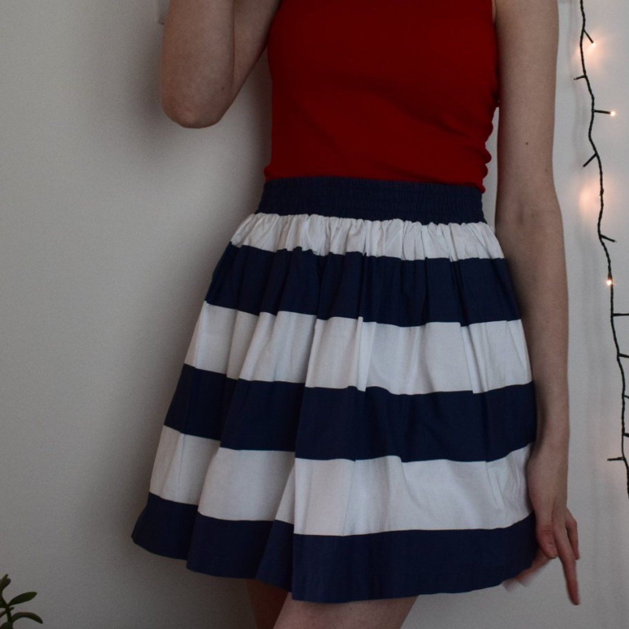 b7e0c2632a beautiful vintage navy and white striped skirt with layered - Depop - 14