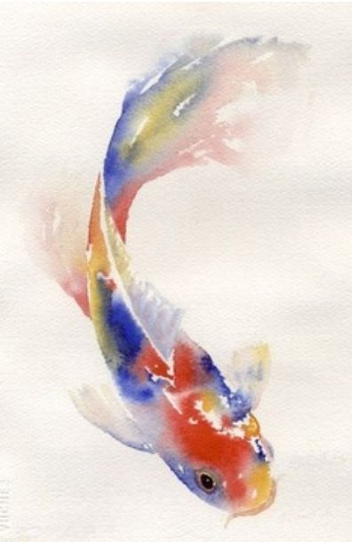 Watercolor Koi Fish Aquarell Fisch Fisch Gemalde Aquarellmalerei