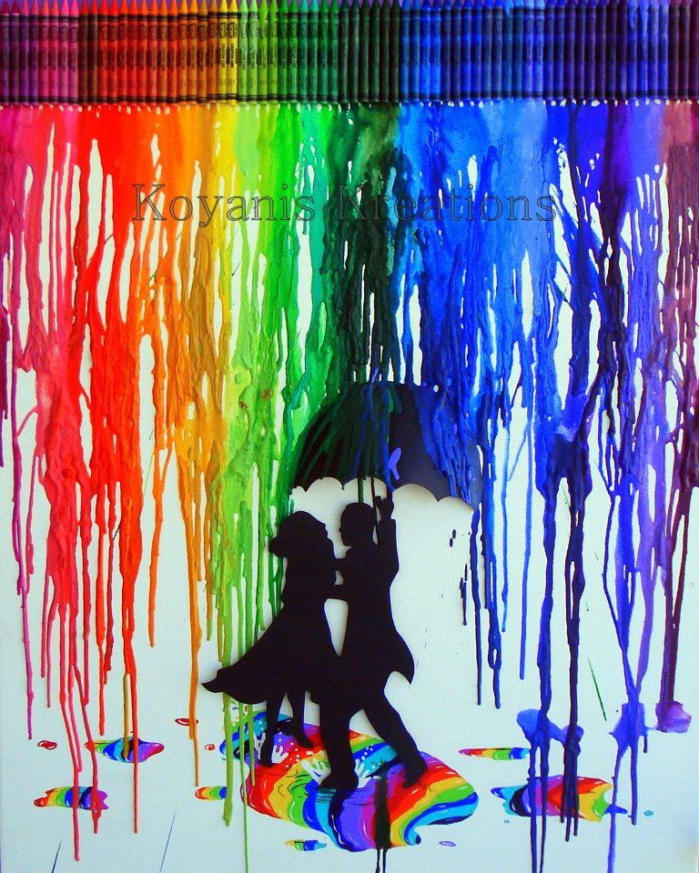 Rainbow crayon melt salsa in the spectrum original large for How to melt crayons on canvas