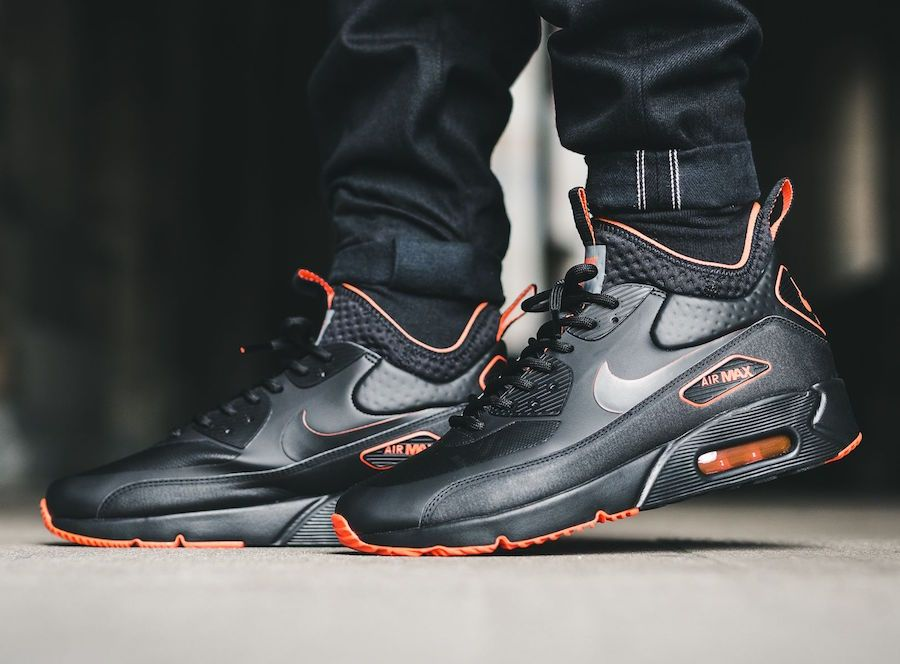 Nike Air Max 90 Ultra Mid Winter Black Total Crimson Aa4423 001 Nike Air Max Mens Winter Boots Top Shoes For Men