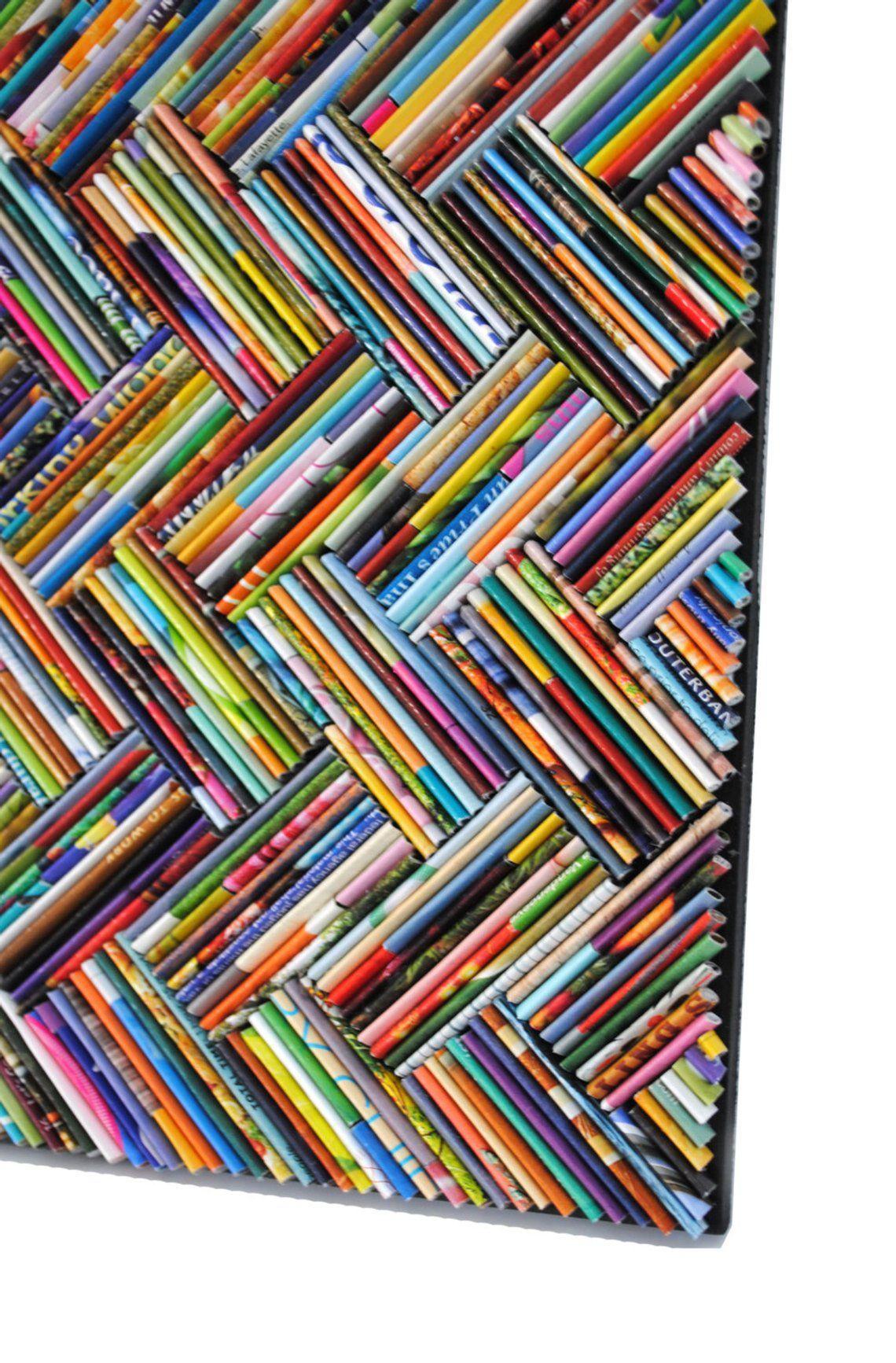 bunte Fischgrät Wandkunst - hergestellt aus recycelten Zeitschriften, blau, grün, rot, lila, rosa, gelb, orange, Detail, modern, bunt, hell #recycledart