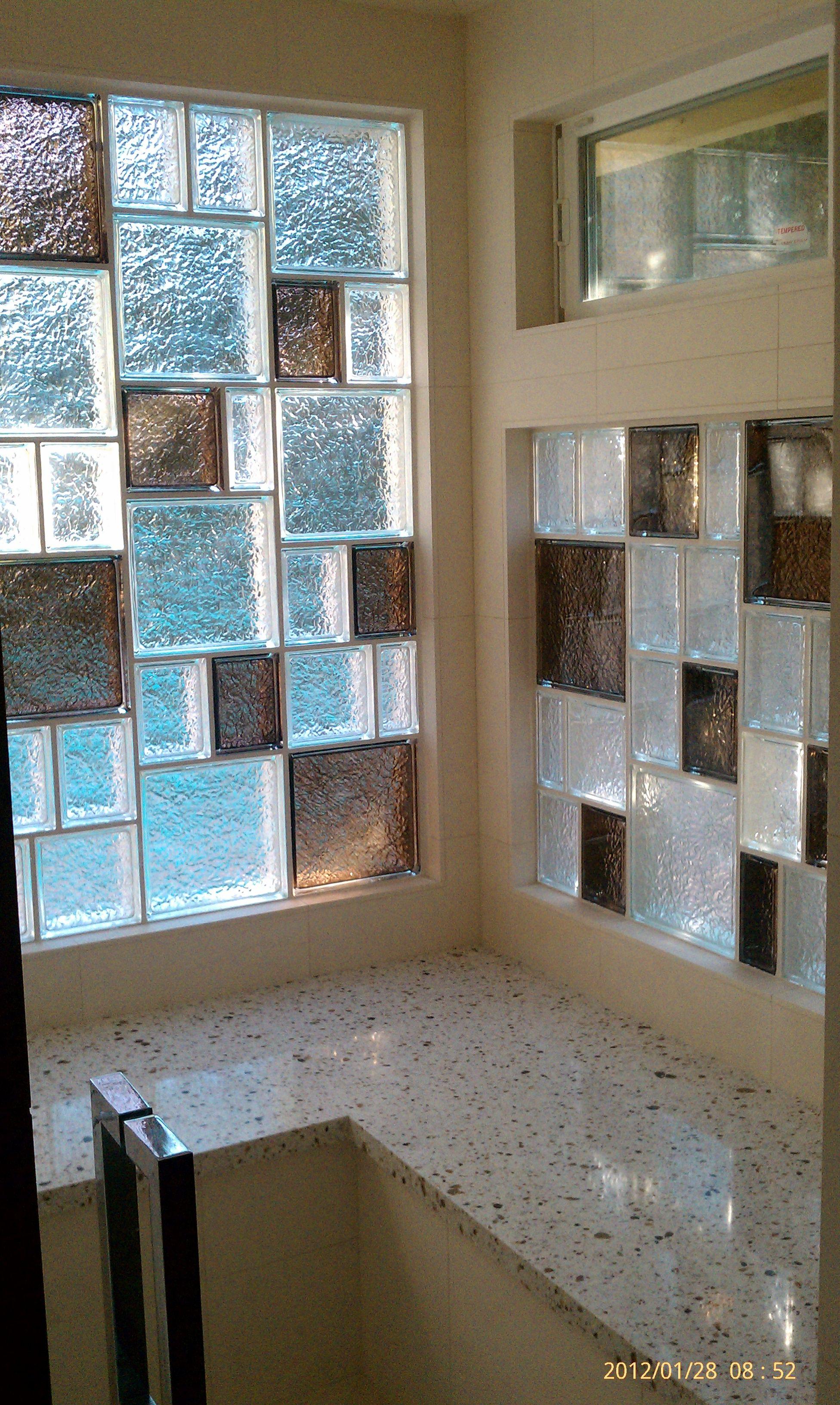 Glass block walls in bathrooms - The Prefabricated Vinyl Framed Glass Block Window Also Uses 6 X8 Decora Glass Blocks