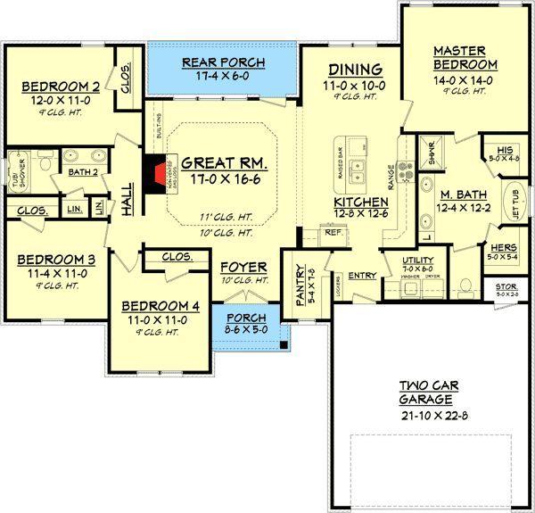 Efficient Kitchen Floor Plans: Plan 11788HZ: Efficient 4 Bedroom House Plan
