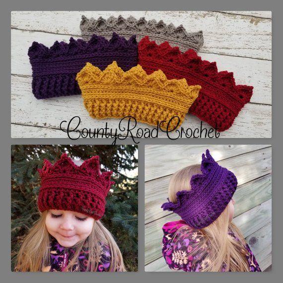 Crochet Crown Ear Warmer Crown Headband Birthday Crown Baby Crown Kid Crown Toddler Crown Adult Crown Ear Warmers Crown Hat Princess Crown