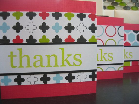 Thank You Cards Set of 6 Modern Graphics Red by apaperaffaire, $10.50