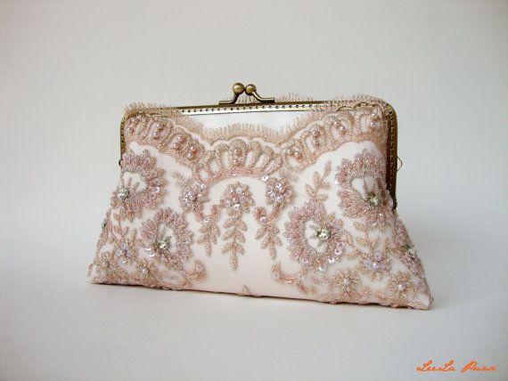 2e64c9a174 Elegant wedding clutch, Lace Silk Clutch in Champagne Pink, Vintage  inspired , wedding bag, bridesmaid clutch, Bridal clutch