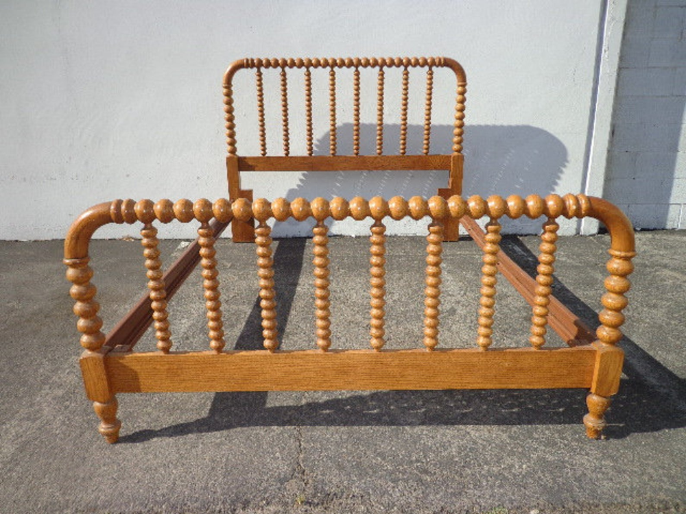 Antique Jenny Lind Bed Country Queen Size Wood Spindle