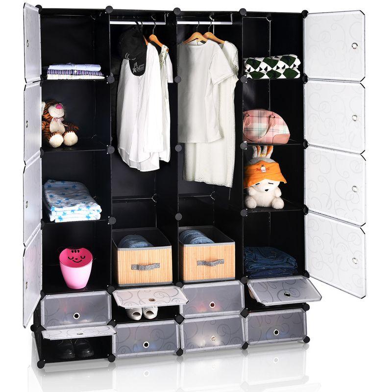 Armoire Etagere Modulable En Plastique Noir 16 Casiers Penderies Rangement Deuba Home Decor Decor Home