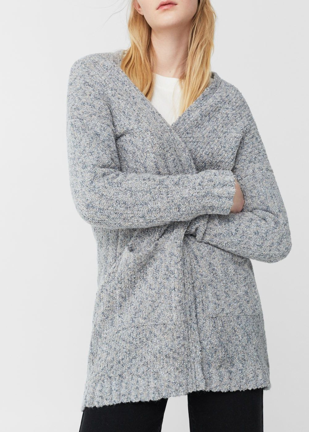 Draped detail dress | Chunky knit cardigan