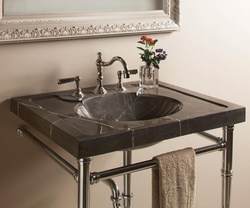 Photo of Vintage Washbasin, 27 inch, Marquina Taupe – Stone Forest