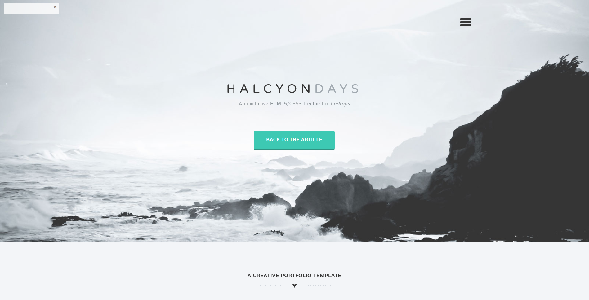 HALCYONDAYS An exclusive HTML5/CSS3 freebie for Codrops