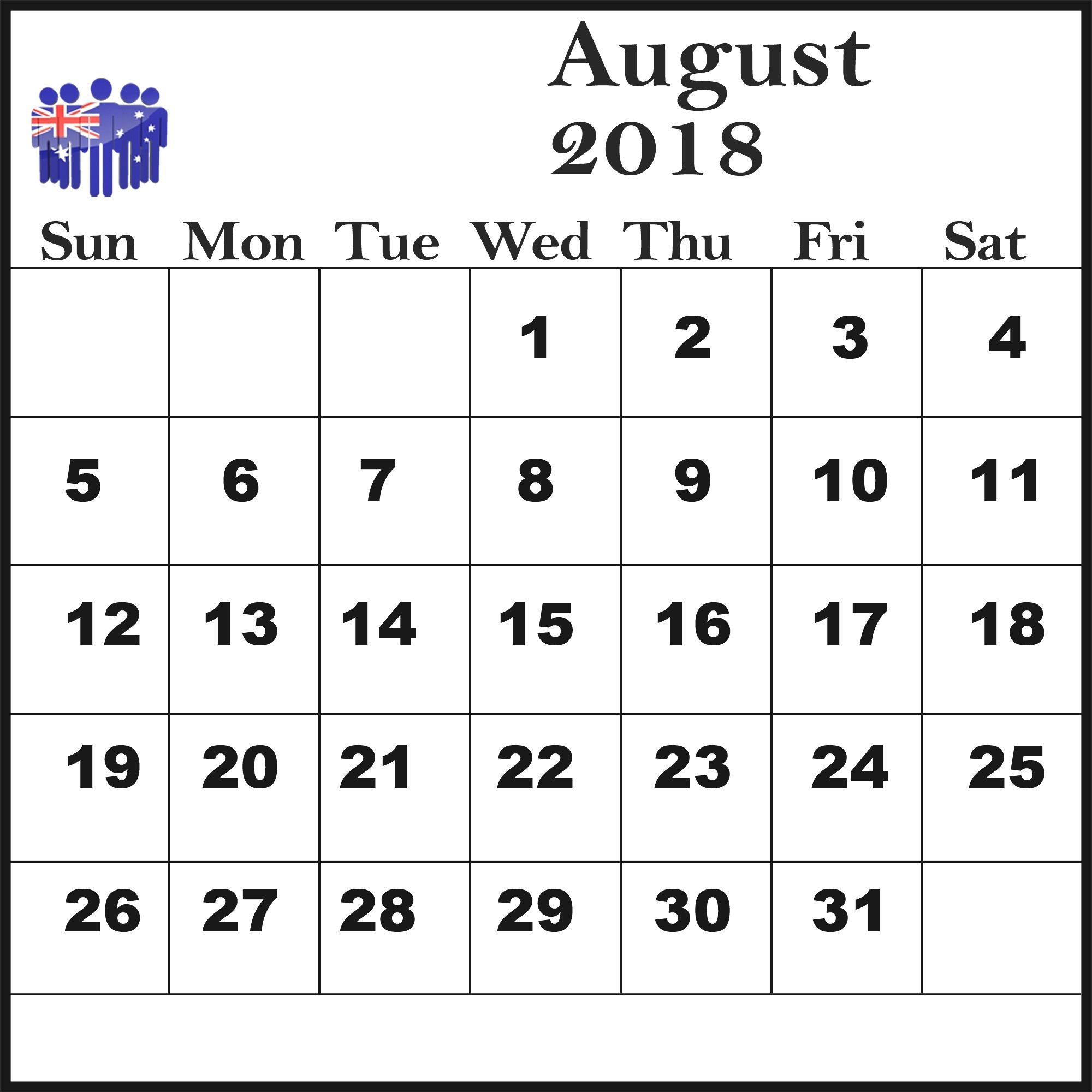 august 2018 calendar australia printable template