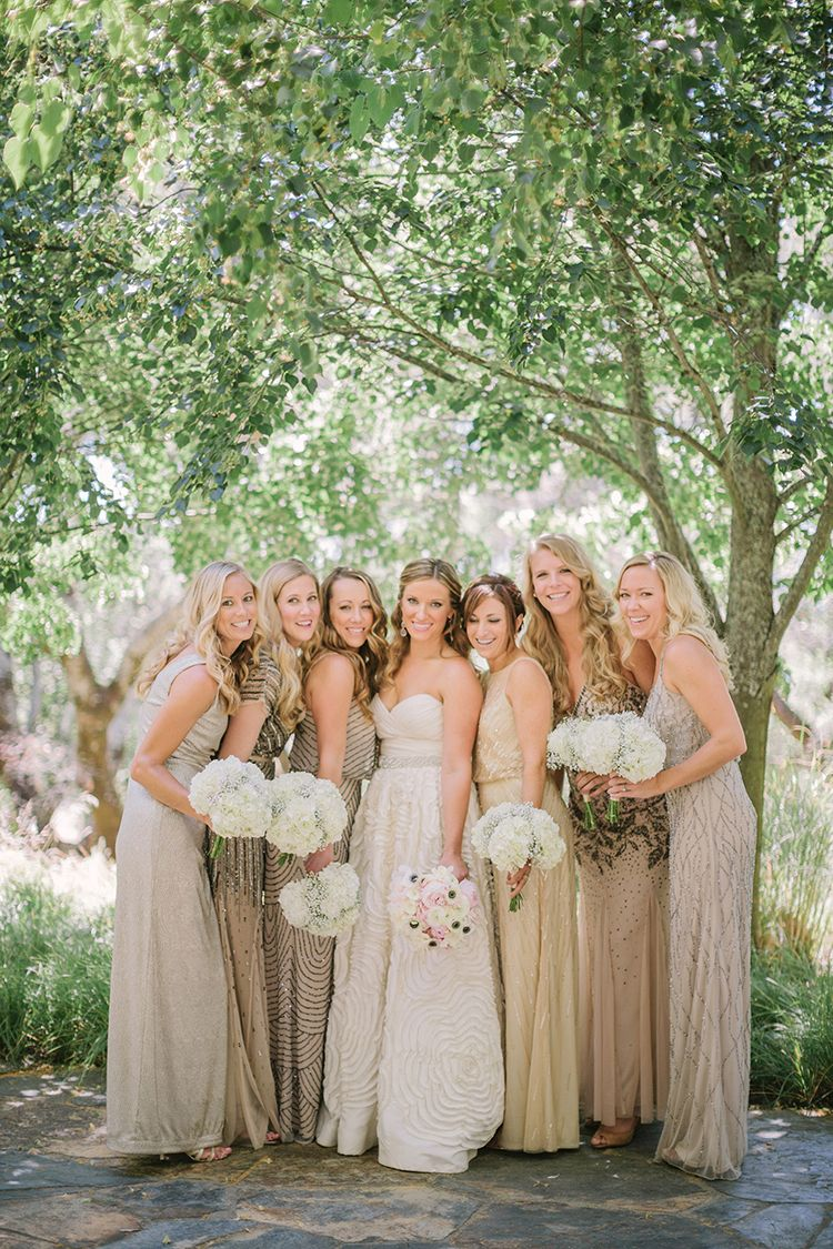 Mismatched Sequin Bridesmaids Dresses In Gold Tones