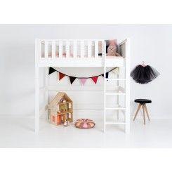 mellemhøj seng Fanny Mellemhøj seng, 90x160 cm (lige stige) | Retro babyudstyr  mellemhøj seng
