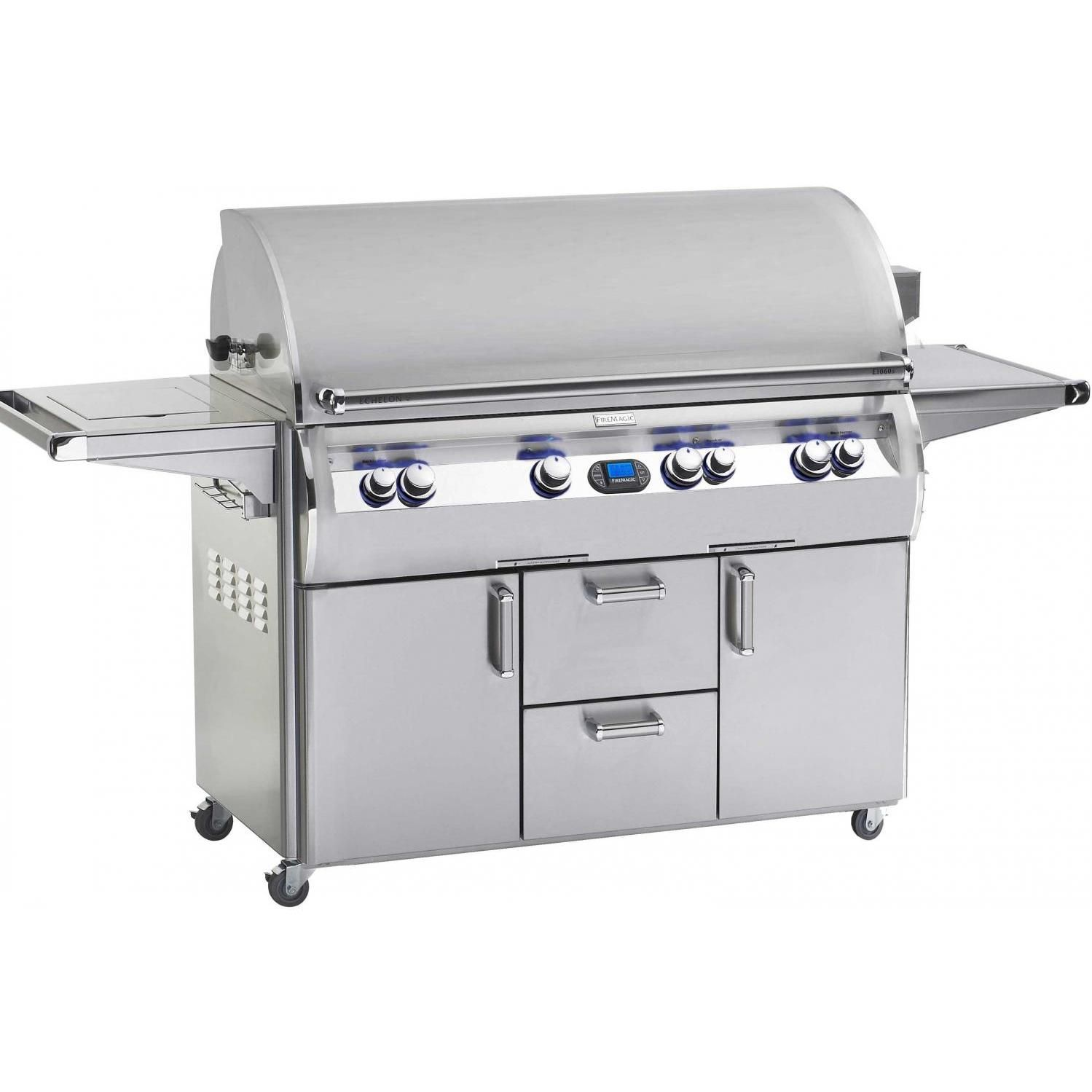 Fire Magic Echelon Diamond E1060 Gas Grill With Single Side Burner On Cart. Only $8,900-$11,000 US.  Stainless Steel finish, 4 Burners, 235,000 Total BTU's, 1,432 (Square Inches) Total Cooking Area.  Manual ignition tubes for match lighting Built-in digital LCD meat and multi-zone grill thermometer. Single Side Burner, Smoker Burner, Infrared Main Burner.