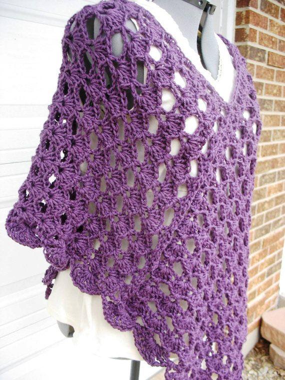 Plus Size Signore Crochet Poncho Shell Stitch-in di more2adore ...