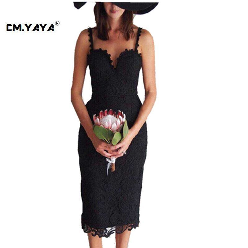 CMYAYA 2016 New Women Sexy Summer Black Sleeveless Spaghetti Strap Plunging V-Neck Lace Bodycon Knee-Length Dresses at our web shop http://www.aliexpress.com/store/536244
