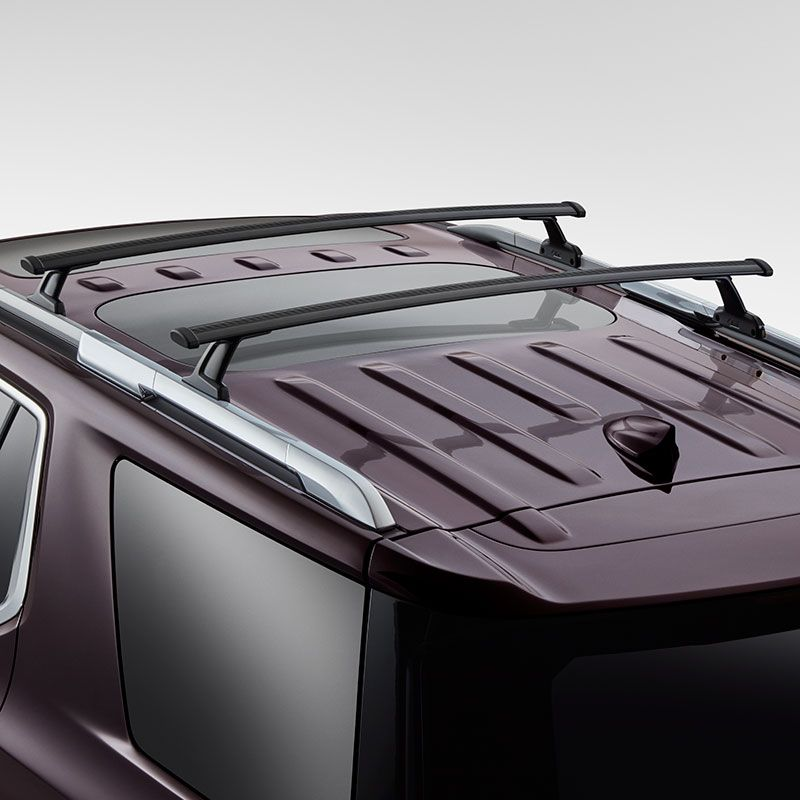 2019 Traverse Roof Rack Cross Rail Package Black Set Of 2 84231368 Roof Rack Aluminum Roof Chevy Accessories