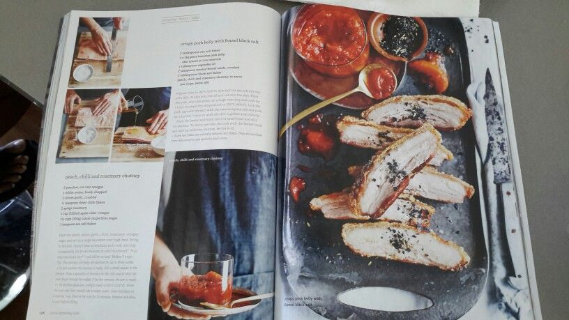 Crispy pork belly with fennel black salt and Peach chilli and rosemary chutney