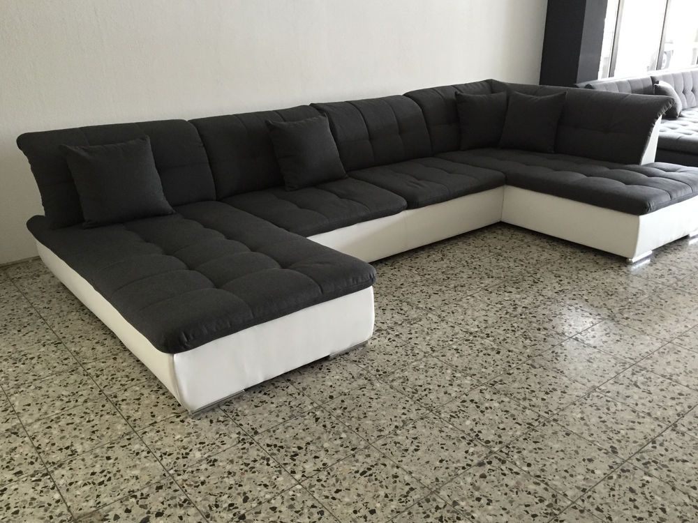 big sofa couch wohnlandschaft megasofa ottomane weiss grau sofort abholbereit. Black Bedroom Furniture Sets. Home Design Ideas
