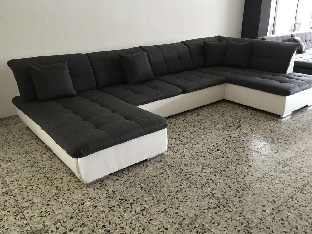 Big Sofa Couch Wohnlandschaft Megasofa Ottomane Weiss Grau Sofort