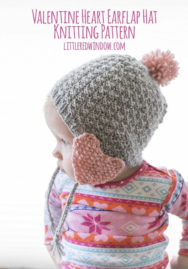 Valentine Heart Earflap Hat Knitting Pattern