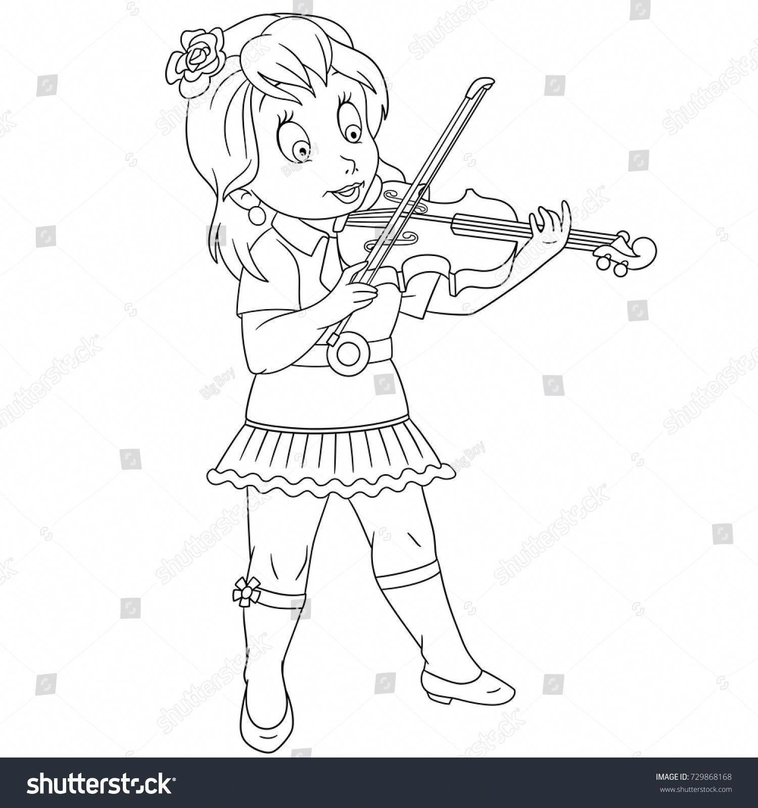 Coloring Page Of Cartoon Violinist Girl Playing Symphony Music On