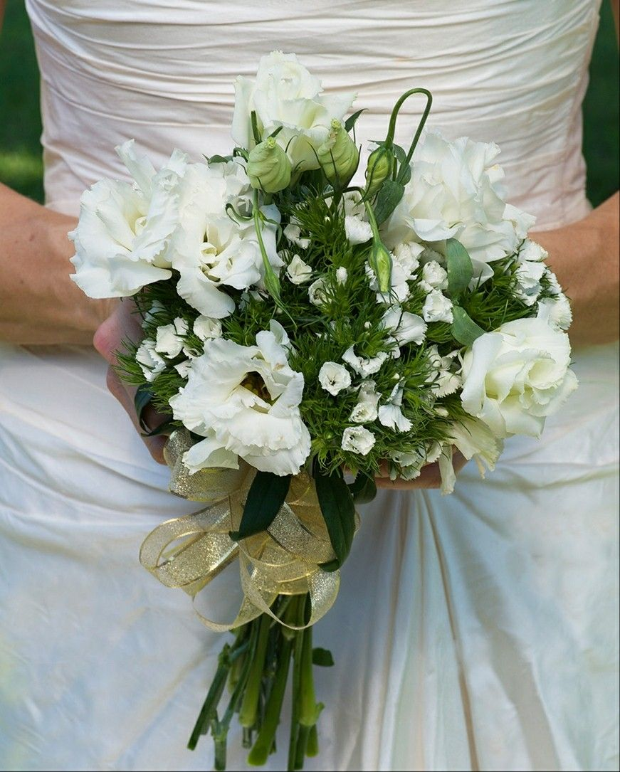 Pretty Wedding Bouquet Arranged With White Lisianthus White