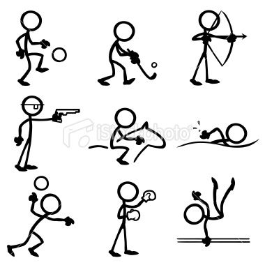 Stickfigures Doing A Variety Of Sporting Activities Stick Figure Drawing Stick Drawings Stick Figures
