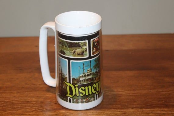 Vintage Disneyland Mug Cup Photos Tall Thermo Serv White Plastic Disney Souvenir