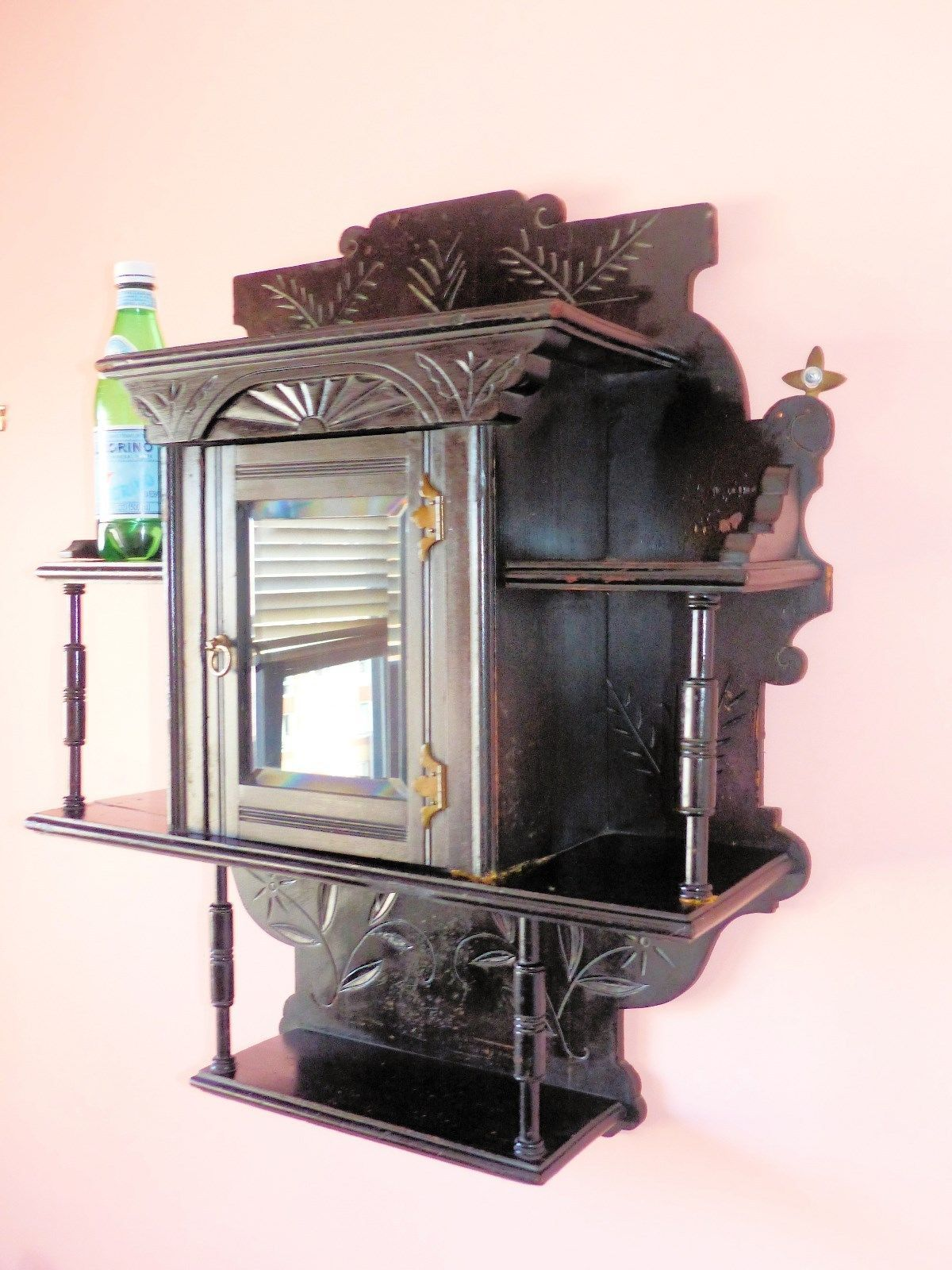 Large Wall Mount Mahogany Hand Carved Victorian Curio Cabinet Ebay