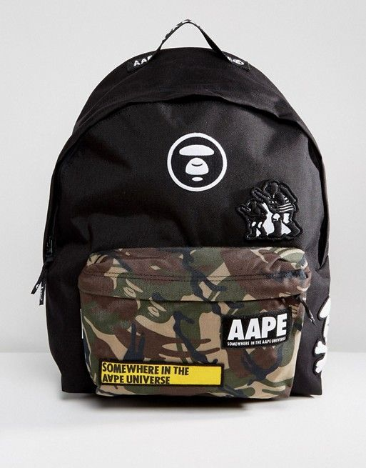 AAPE By A Bathing Ape Backpack With Camo Logo Pocket  067dab49d2938